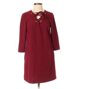 Kensie Burgundy Red Casual Long Sleeve Shift Dress